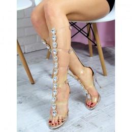 Sandały Biżuteryjne Srebrne Gladiatorki Silikonowe Paski 7239