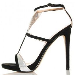 Sandały - Czarne Kobiece Paseczki Srebrne Wstawki 5274