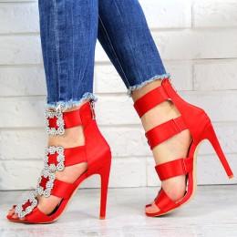 Sandały Czerwona Satyna Zdobiona Cyrkoniami 7253