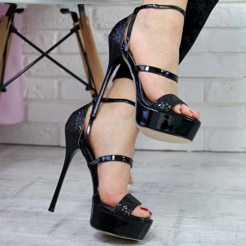nie-Sandały Czarne Brokatowe Podwójne Paseczki 7260