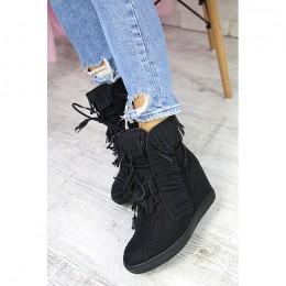 Sneakersy Czarne Dziurkowane Ukryty Koturn 7270