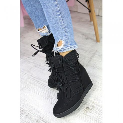nie-Sneakersy Czarne Dziurkowane Ukryty Koturn 7270