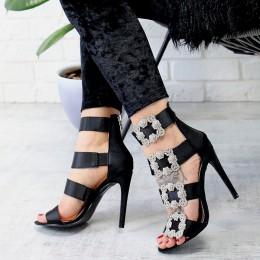 Sandały Czarna Satyna Zdobiona Cyrkoniami 7275