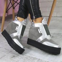 Sneakersy Szare Zamszowe - Szeroka Guma 7285