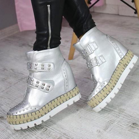Sneakersy Srebrne Na Ukrytej Sznurkowej Koturnie 7288
