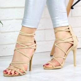 Sandały Beżowe Zamszowe Smukłe Gladiatorki 7318