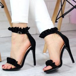 Sandały Czarne Zamszowe z Falbanką 7319