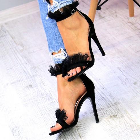 Sandały Czarne Zamszowe z Koronką 7326
