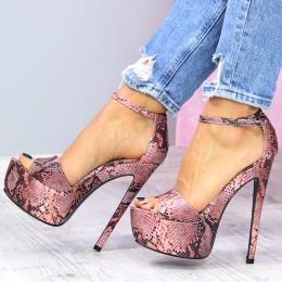 Sandały Wysokie Różowe Wężowe SEXY 7329