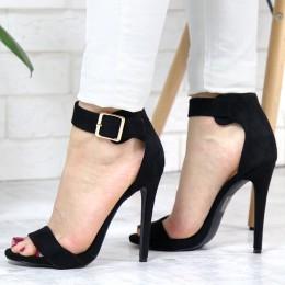 Sandały Czarne Wysokie z Zabudowaną Pietą 7331