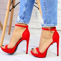 Sandały Czerwone Zamszowe Delikatne 2 Paseczki 7334
