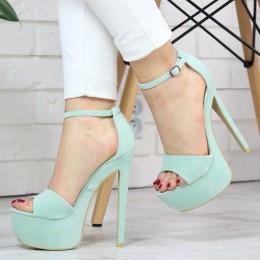 Sandały Wysokie Miętowe Zamszowe SEXY 7335