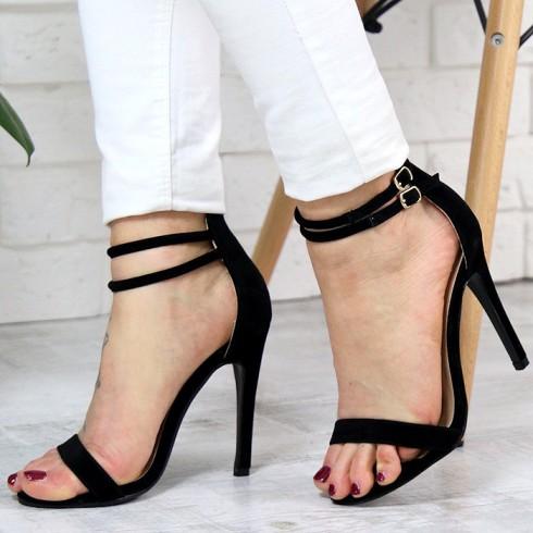 Sandały Czarne Zamszowe Kobiece Sexy 7337