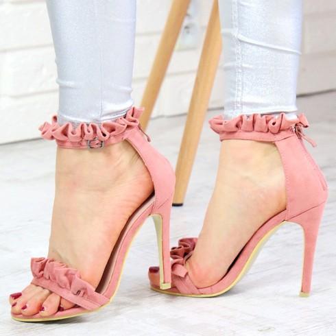 Sandały Różowe Zamszowe z Falbanką 7338