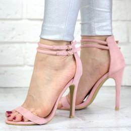 Sandały Różowe Zamszowe Kobiece Sexy 7346