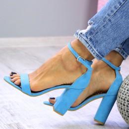 Sandały Proste Błękitne Na Słupeczku 7350