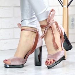 Sandały Różowe Welurowe Na Wcietej Platformie 7352