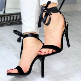 Sandały Czarne Wiązane Santynowa Wstążką 7358
