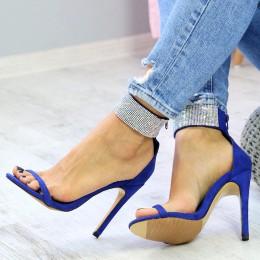 Sandały Piękne Kobaltowe Opalizujące Cyrkonie 7386