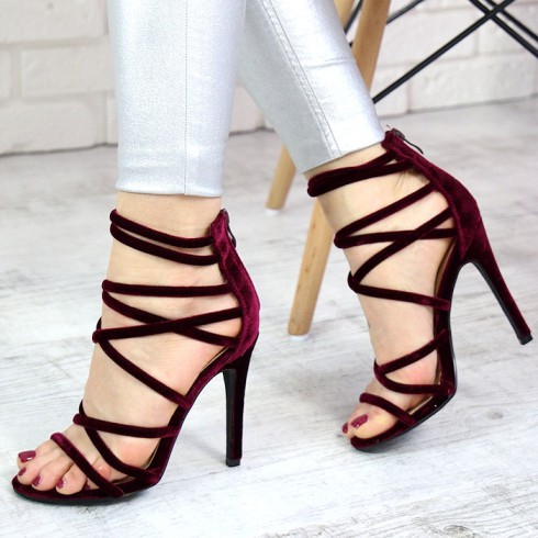 Sandały Bordowe Smukłe Gladiatorki 7403