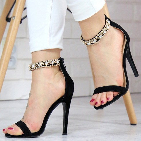 Sandały Rozkoszne Czarne Ze Złotą Obrożą 7405