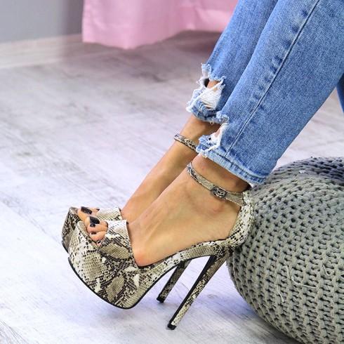 nie - Sandały Wysokie Beżowe Wężowe SEXY 7407