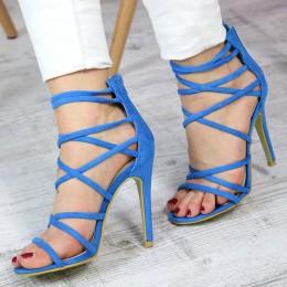 Sandały Błękitne Zamszowe Smukłe Gladiatorki 7409