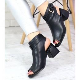 Sandały Czarne Zabudowane Na Dzwonku - Klamra 7410