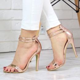 Sandały Różowe Metaliczne Kobiece Sexy 7420