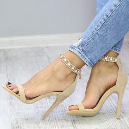 Sandały Rozkoszne Beżowe Ze Złotą Obrożą7359