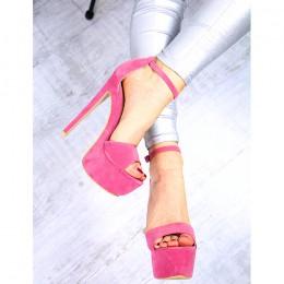 Sandały Wysokie Różowe Zamszowe SEXY 7376