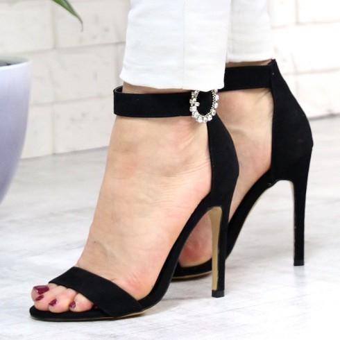 Sandały Czarne z Cyrkoniową Klamerką 7406