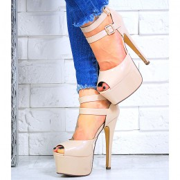 Sandały Wysokie Beżowe Sandały Paski 6027