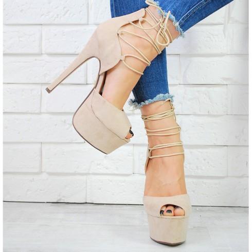 nie-Sandały Beżowe Wiązane Na Łydce 6033