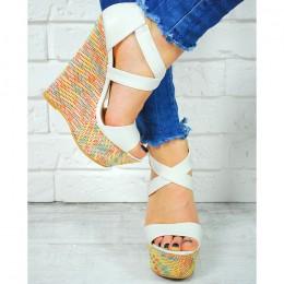 Sandały Białe Na Kolorowej Koturnie 7445