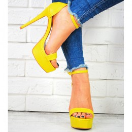 Sandały Zółte Śliczne Kwadratowy Nosek 7425