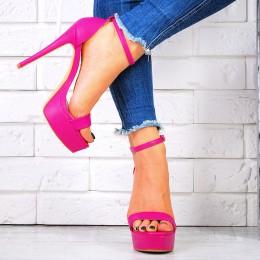 Sandały Rózowe Śliczne Kwadratowy Nosek 7465