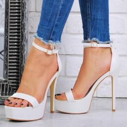Sandały Białe Śliczne Kwadratowy Nosek 7481