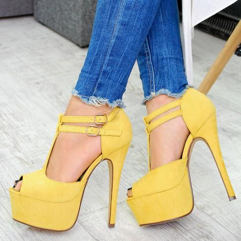 Sandały Żółte Zamszowe Subtelne 2 Paseczki 7505