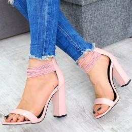Sandały Różowe Gumeczki Na Słupku 7510
