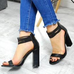Sandały Czarne Gumeczki Na Słupku 7517