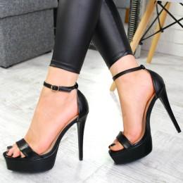 Sandały Czarne Śliczne Kwadratowy Nosek 7519