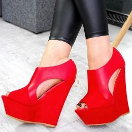 Sandały Czerwone Zamszowo Skórzane 7523