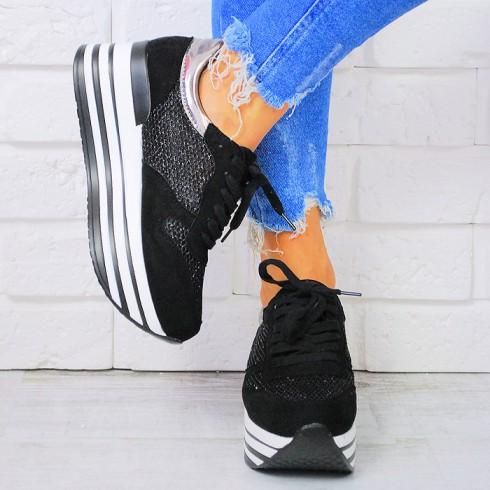 nie - Trampki Czarne Adidasy Ażurowe Wstawki 7525