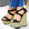 Sandały Czarne Na Kolorowej Koturnie 7537