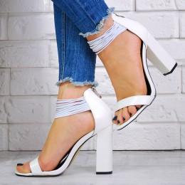 Sandały Białe Gumeczki Na Słupku 7541