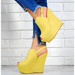 Sandały Żółte Zabudowane Na Koturnie 7597