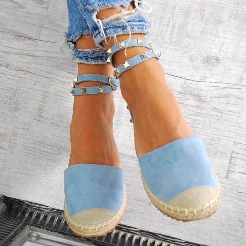 nie - Espadryle Jasno Niebieskie Sandały w Dżety 7606