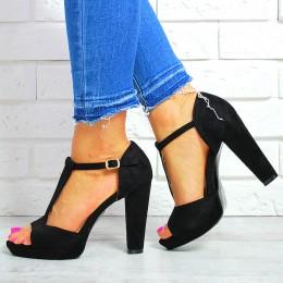 Sandały Czarny Zamszowy Pasek 7625