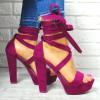 Sandały Zamszowe Fioletowe Paski 7628